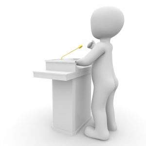 3D image of person giving a speech