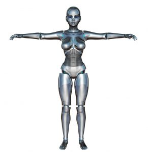 Robot type body standing with arms outstreched