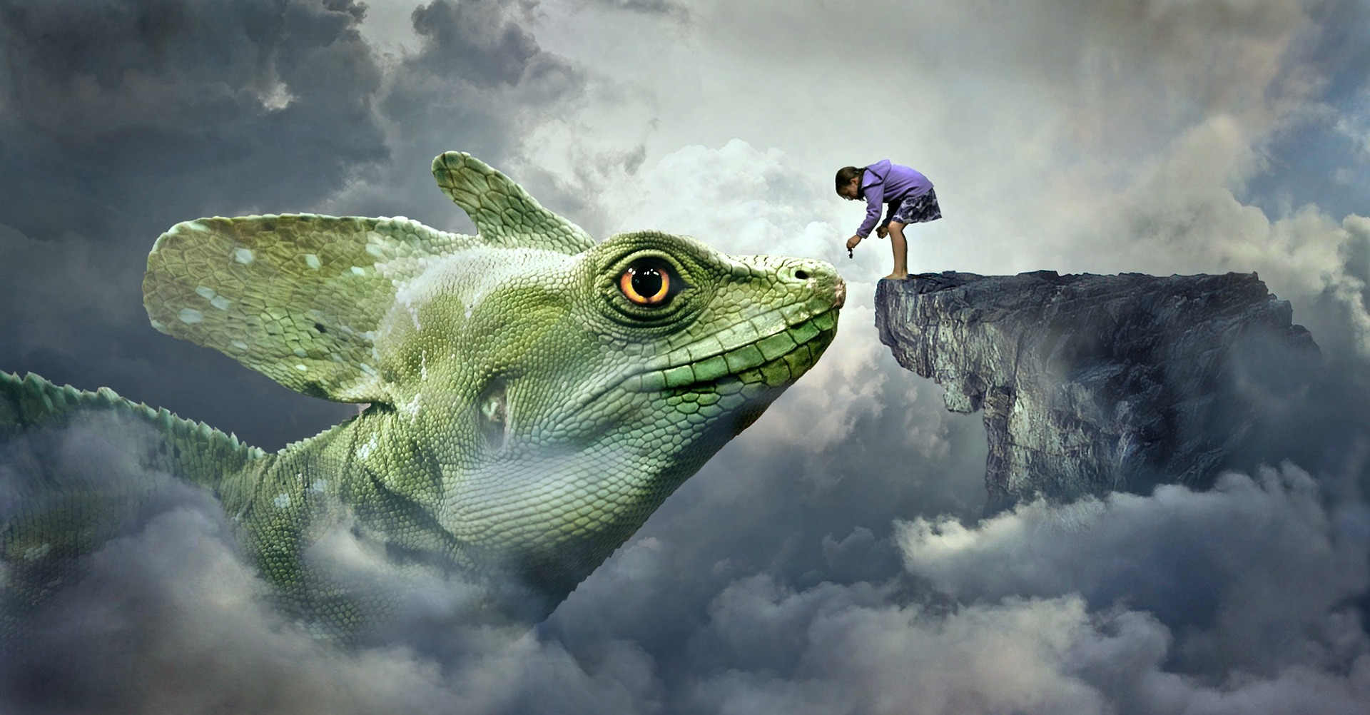 Boy touching dragon - don't give up your dreams