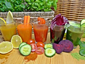 Lemon, carrot, tomato, beetroot and green smoothies