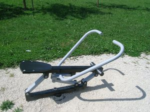 A rowing machine in the garden