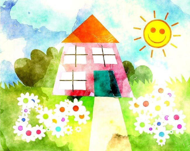 Water colour of a house, the sun, garden, trees and flowers