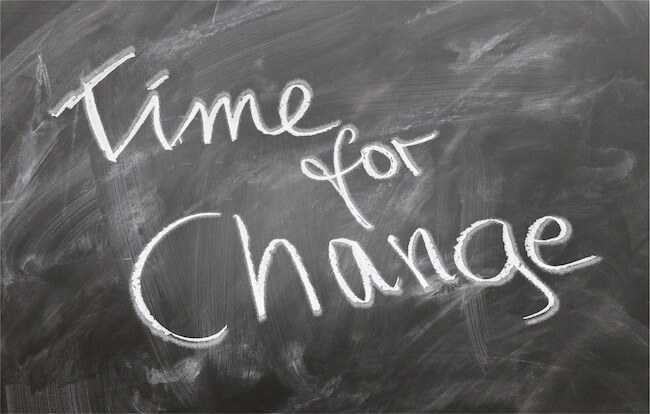 Time for change written on blackboard